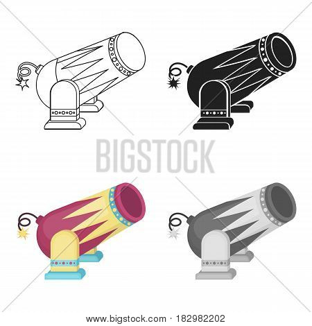 Circus cannon icon in cartoon style isolated on white background. Circus symbol vector illustration.