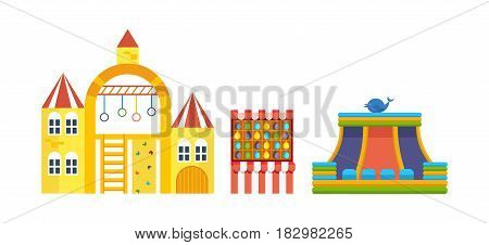 Amusement park for children with attractions and fun games. Modern vector illustration isolated on white background.
