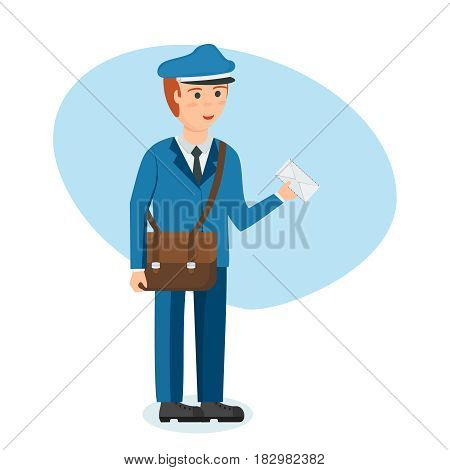 Male modern professions concept. The postman in branded clothes with briefcase on shoulder and letter in hands, carries parcels and letters. Modern vector illustration isolated in cartoon style.