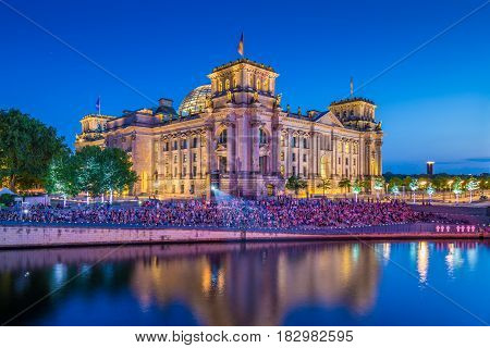 Reichstag Building With Spree River At Night, Berlin, Germany