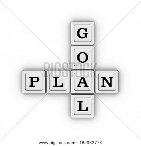 Goal Plan crossword. 3D illustration on white background.