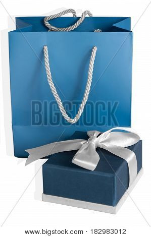 small blue box tied with a silver ribbon and gift paper-bag as a set.