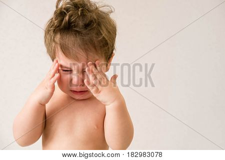 Baby, Crying, Sadness. screaming because her stomach hurts. Screaming baby. Children cry. Infant screamin. Photo of one year month baby crying,
