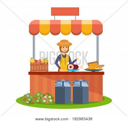 Market farmer selling of natural farm food products. A girl farmer at the counter sells vegetables and food from her garden and country plot. Modern vector illustration isolated in cartoon style.
