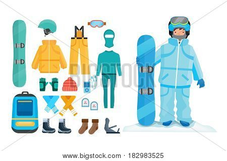 Set for creating a character, snowboard sport clothes and tools elements. A man with a snowboard on a snowy hillock. Modern vector illustration isolated on white background.