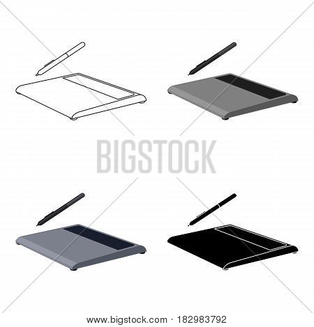 Drawing tablet icon in cartoon design isolated on white background. Personal computer accessories symbol stock vector illustration.