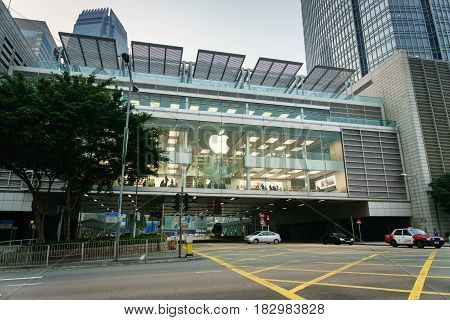 Hong Kong - circa March, 2017: Apple Store in Hong Kong. Apple Store opened its long-awaited first store in Hong Kong. Apple store is located at the International FinanceCenter.