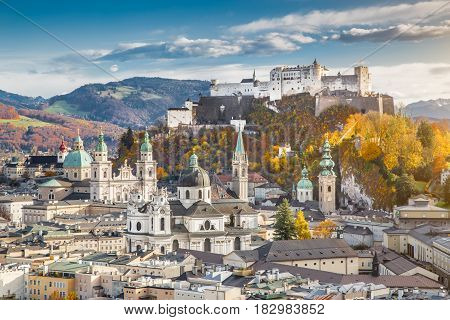 Historic City Of Salzburg In Fall, Austria
