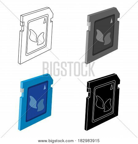 SD card icon in cartoon design isolated on white background. Personal computer accessories symbol stock vector illustration.