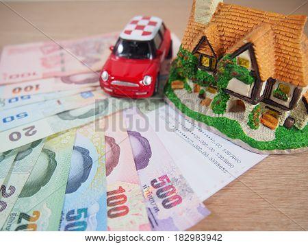Saving money account for a house a car plan concept