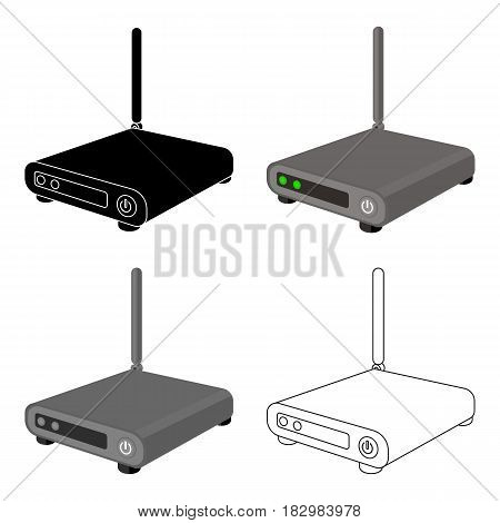 Router icon in cartoon design isolated on white background. Personal computer accessories symbol stock vector illustration.