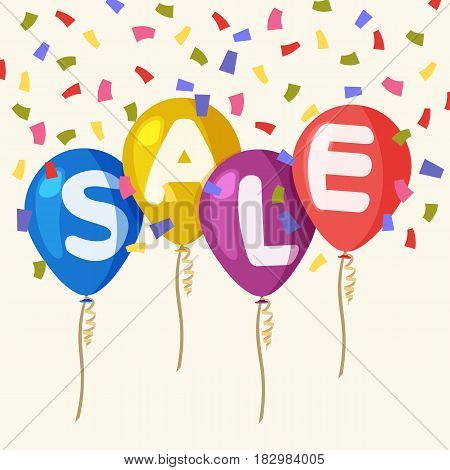 Four colored flying party balloons isolated with text sale on transparent background. Flying balloons concept of sale for shops in flat style. Colored confetti. Discount concept vector illustration