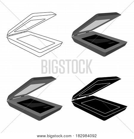 Scanner icon in cartoon design isolated on white background. Personal computer accessories symbol stock vector illustration.