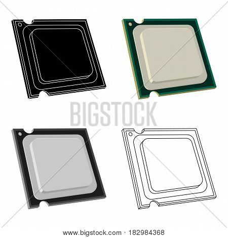 Central processing unit icon in cartoon design isolated on white background. Personal computer accessories symbol stock vector illustration.