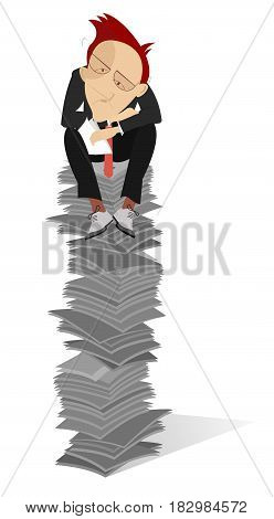 Tiredness man sits on the high pile of documents
