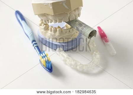 Plaster handprints with a curled money bill and dental hygiene items clamped between the teeth
