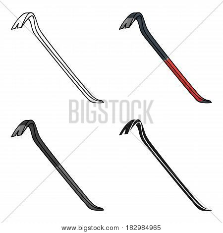 Crowbar icon in cartoon style isolated on white background. Crime symbol vector illustration.