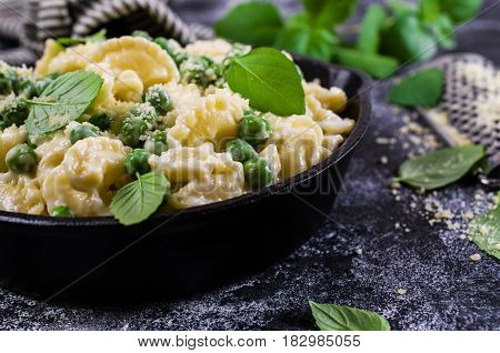 Pasta galletti with green peas and bechamel sauce. Selective focus.