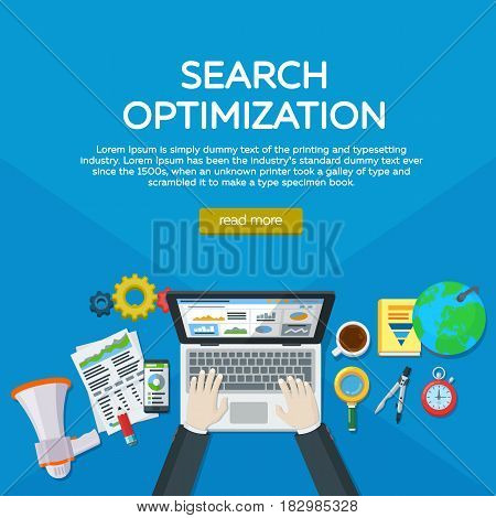 Website development search engine optimization. Web analytics elements and marketing. Expert in SEO. Manager top view workplaces flat vector illustration. Hands of a man on a laptop keyboard