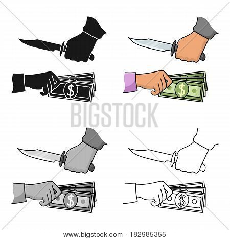 Robbery icon in cartoon style isolated on white background. Crime symbol vector illustration.
