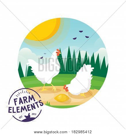 Chiken label icon with background of sunny landscape, green glade with forest. Isolated farm animal icon. Village, countryside theme