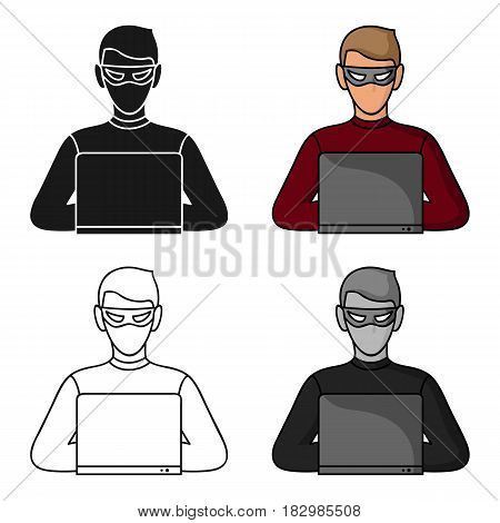 Hacker icon in cartoon style isolated on white background. Crime symbol vector illustration.