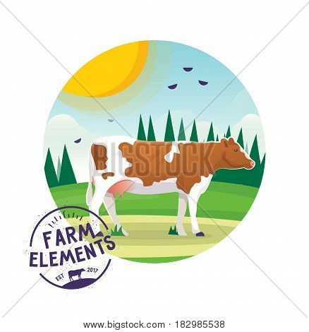 Cow animal icon on the background of sunny landscape, green glade with forest. Isolated farm animal icon. Village, countryside theme