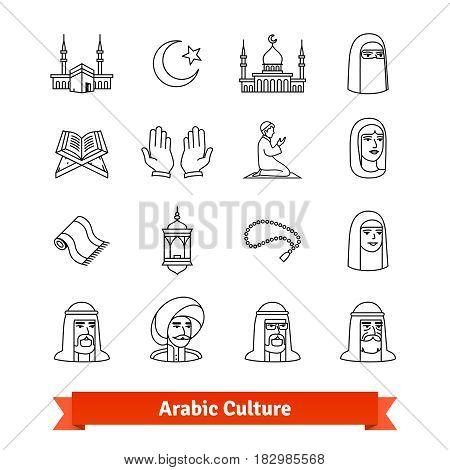 Arabic culture. Thin line art icons set. Islamic people, philosophy and traditions. Linear style symbols isolated on white.