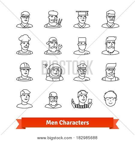 Men character avatars. Thin line art icons set. Different ages and professions male portraits . Linear style symbols isolated on white.