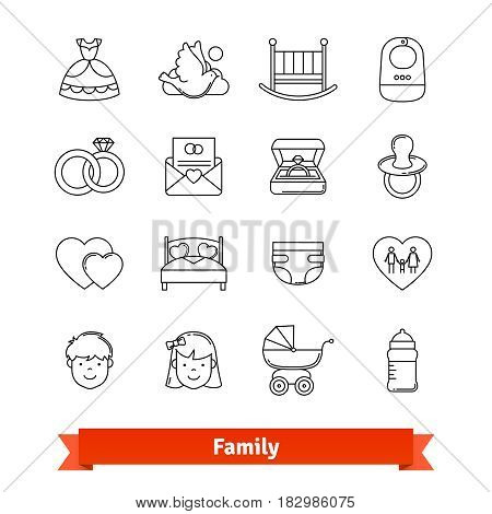 Family thin line art icons set. Engagement event, wedding ceremony, baby birth. Linear style symbols isolated on white.