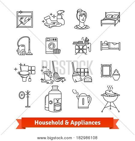 Household and Home appliances. Thin line art icons set. Housework tools and equipment, clean service and cooking. Linear style symbols isolated on white.