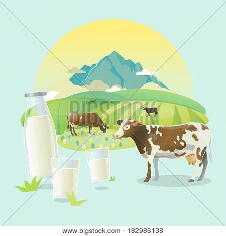 Vector illustration of cows on alpine rasen. Rural sunrise pasture landscape with happy cows. Bottle of milk and glasses of milk.