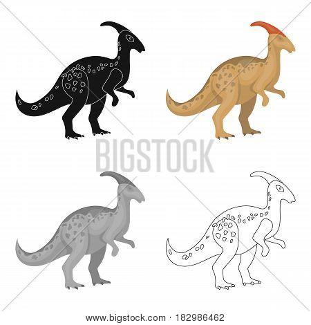 Dinosaur Parasaurolophus icon in cartoon design isolated on white background. Dinosaurs and prehistoric symbol stock vector illustration.