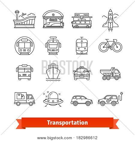 Modern transportation and urban infrastructure set. Road, rail, water city and space transportation. Thin line art icons. Linear style illustrations isolated on white.
