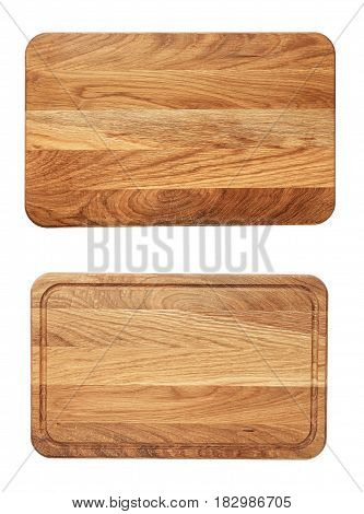 new rectangular wooden cutting board top view isolated