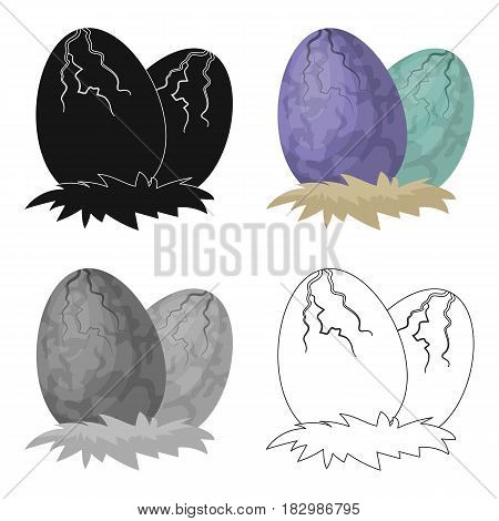 Eggs of dinosaur icon in cartoon design isolated on white background. Dinosaurs and prehistoric symbol stock vector illustration.