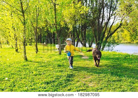 Best friends! Happy child boy with his dog in the countryside at springtime. Concepts of family healthy lifestyles and happiness.