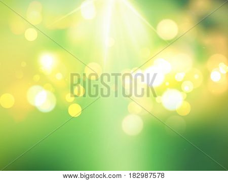 Green bokeh lights background with sun rays