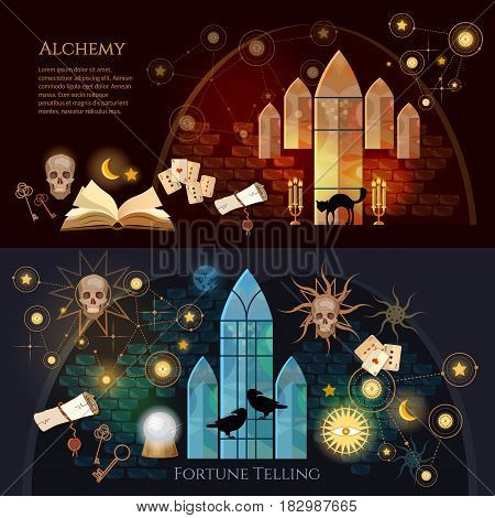 Medieval alchemy mysticism occultism esotericism. Vintage key magic objects and scrolls alchemy concept. Medieval castle of wizard. Fortune telling banner