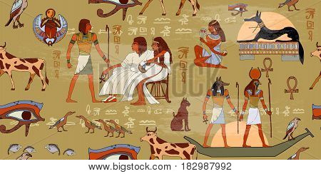 Egyptian gods and pharaohs seamless pattern. Ancient Egypt seamless pattern. Hieroglyphic carvings on the exterior walls of an ancient egyptian pattern. Murals ancient Egypt