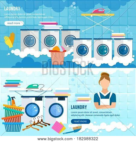 Laundry service banner laundry room with facilities for washing clothes laundry staff washing machine vector