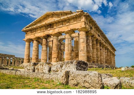 Temple Of Hera At Famous Paestum Archaeological Unesco World Heritage Site, Which Contains Some Of T