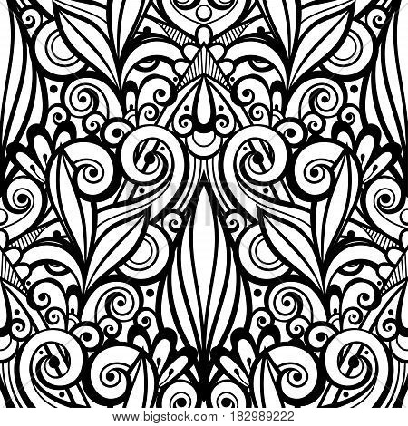Vector Monochrome Seamless Pattern With Floral Ornament