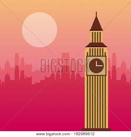 big ben iconic tower of london city over pink background. travel and tourism design. vector illustraiton