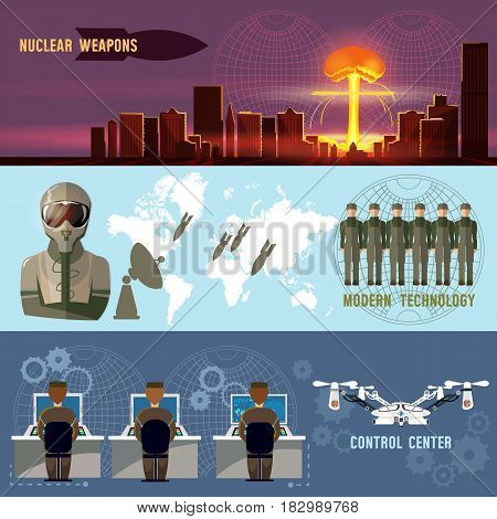 Nuclear war military technology nuclear weapons. Confrontation between the superpowers. Army future nuclear attack on a city