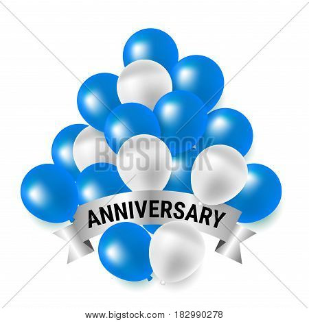 Beautiful blue and white party balloons for anniversary celebration