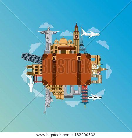iconics monuments of the world around travel suitcase over sky background. travel and tourism design. vector illustraiton