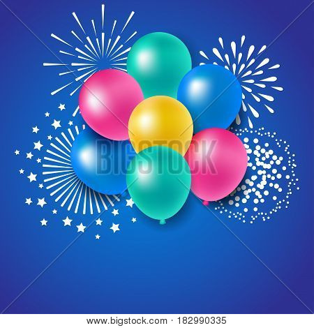 Colorful balloons with fireworks for party celebration