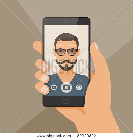 Hipster bearded young man takes selfie using a smartphone. Vector illustration.