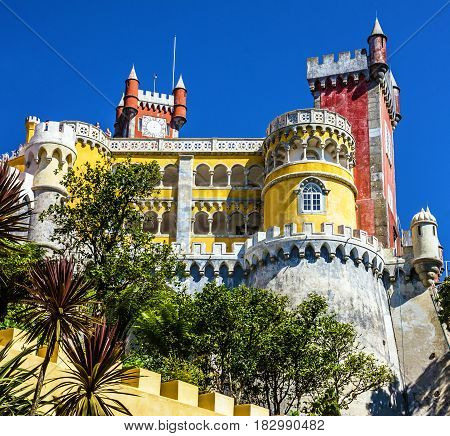 Pena National Palace in Sintra (Palacio Nacional da Pena), Portugal.